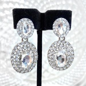 Clear Crystal Prom Bridal Pageant Formal Earrings